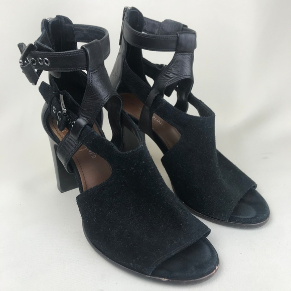 Donald J. Pliner Shoes - Donald J Pliner Ronnie Suede & Leather Buckle Heel